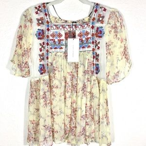 NWT Zara Embroidered Lace Sheer Boho Top. Size L
